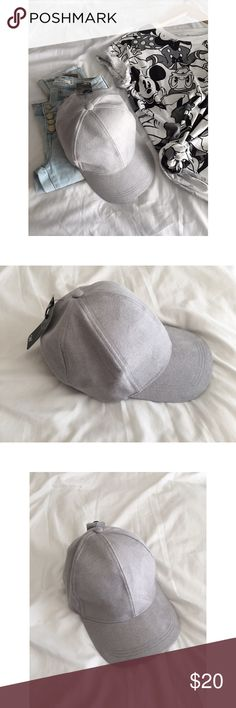 """🆕Baseball cap suede gray Brand new with tag! Adorable vegetarian breathable suede baseball dad cap, by David & Young from Nordstrom. In pale gray. Adjustable velcro back. Super cute! Will make any outfit look more edgy and chic! Perfect for everyday wear or just to jazz up your casual outfit! Most size fits all. 7-9"""" Circumference 3"""" brim NWT Accessories Hats"""