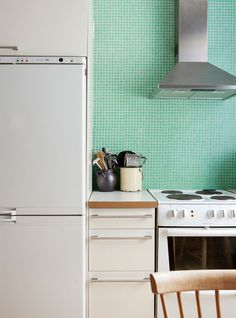 Mint green kitchen tiles