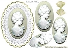 PRETTY IN CREAM LADY CAMEO OVAL PYRAMIDS on Craftsuprint designed by Nick Bowley - PRETTY IN CREAM, LADY CAMEO OVAL PYRAMIDS, Makes a pretty card, lots of other colours and designs to see - Now available for download!