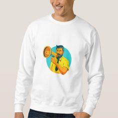 Bearded Hipster Man With Megaphone WPA Sweatshirt. WPA style illustration of bearded hipster man holding megaphone viewed from front set inside circle on isolated background. #illustration #BeardedHipsterManWithMegaphone