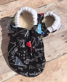 Math booties, Math Moccs, Nerdy Booties, Math soft sole shoe, Baby Shower Gift, Unisex Booties, Blue Crib Shoes, Geeky Baby, Nerd Moccs by DGBooties on Etsy