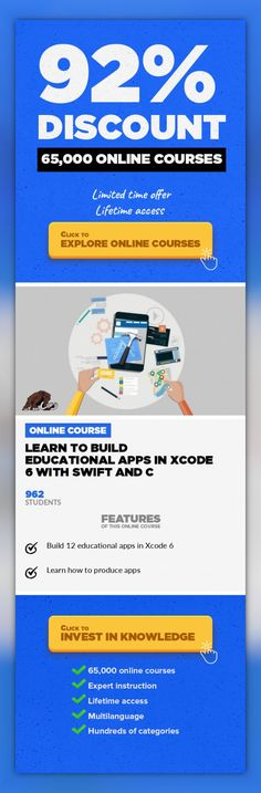 Learn to build educational apps in XCode 6 with Swift and C Mobile Apps, Development #onlinecourses #onlineuniversitybest #onlineeducationwebsiteLearn how to build fantastic education apps and upload them to the app store. Have you ever wanted to learn how to build apps? This course is for you! This course will show you how to build educational apps for iOS and OSX in Xcode 6! Learn how to build...