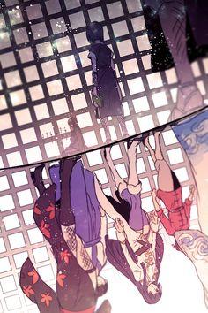 Yoshida, Nobume, Tsukuyo, Kagura, Shinpachi and Gintoki Anime Manga, Anime Art, Silver Samurai, Gintama, Fanart, Grafiti, Comedy Anime, Okikagu, Manga Games