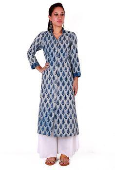 Buy Indigo & White Baghru Kurta Pallazo Set - @https://www.tjori.com/apparel/bagru-printed-kurtas-palazzo/