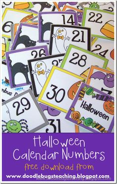 October Calendar Cards 1-31 {free download} www.doodlebugsteaching.blogspot.com