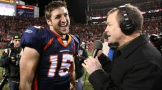 Tim Tebow Photos Photos: Wild Card Playoffs - Pittsburgh Steelers v Denver Broncos Tim Tebow Baseball, Tim Tebow Girlfriend, Broncos Win, Nfl Playoffs, Cbs Sports, Ex Husbands, New York Mets, Lovers And Friends