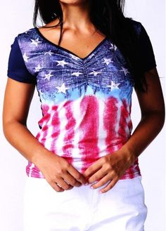 American Flag Print 4th Of July Short Sleeve T Shirt