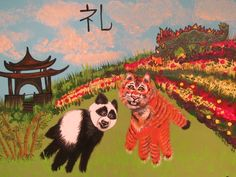 Handprint tiger and panda, name in Chinese characters, fingerprint dragon from a China themed playdate