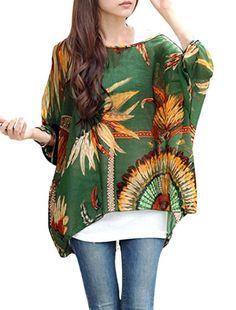 831211223f3fe6 Allegra K Ladies Scoop Neck Batwing Sleeve Feather Pattern Stylish Chiffon Top  Allegra K http: