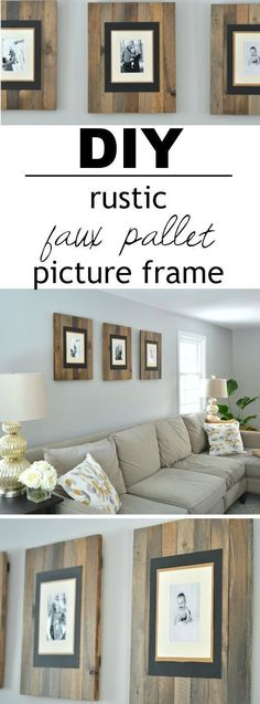 These picture frames look like they are made from reclaimed wood pallets but are really made from cheap white wood that's stained to look old and weathered! There's a great video tutorial that shows y