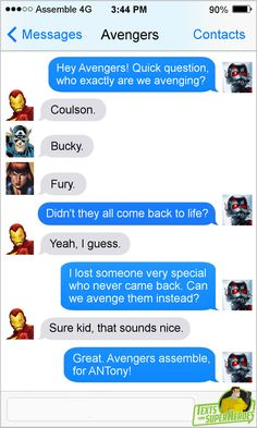 Shop Most Popular Marvel Ant-Man USA Global Shipping Eligible Items by clicking image! Funny Marvel Memes, Marvel Jokes, Dc Memes, Marvel Dc Comics, Superhero Texts, Avengers Texts, Marvel Avengers, Texts From Superheroes, Next Avengers