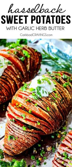These Hasselback Sweet Potatoes are tender, melt-in-your-mouth and bursting with garlic herb, butter flavor! They look wonderfully gourmet for holidays and special occasions but are everyday easy! Gouda, Hasselback Sweet Potatoes, Garlic Herb Butter, Healthy Potatoes, Vegetarian Recipes, Healthy Recipes, Potato Sides, Lentil Salad, Sweet Potato Recipes