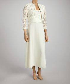 Love this Cream Sequin Lace Sleeveless Dress & Bolero - Women by R&M Richards on #zulily! #zulilyfinds