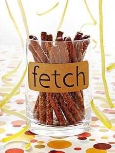 Birthday Party Puppy Love Birthday Party: Pretzel rods make fetching party food!Puppy Love Birthday Party: Pretzel rods make fetching party food! Dog Themed Parties, Puppy Birthday Parties, Puppy Party, Birthday Party Themes, Birthday Ideas, Dog Parties, Dog Themed Food, 4th Birthday, Circus Birthday