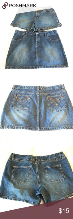 Old Navy Denim Bundle 1 pair of jean shorts & 1 jean skirt - both are size 14. Both are in like new condition with no stains or rips. Both stretch. No pilling. Old Navy Jeans
