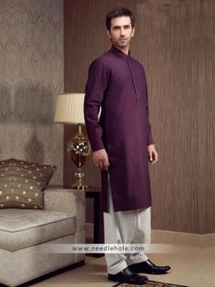 #Pakistani #kurta shalwar for men in byzantium color. Buttoned #cuffs cotton silk plain kurta comes with white shalwar http://www.needlehole.com/pakistani-kurta-shalwar-for-men-in-byzantium-color.html Pakistani kurta shalwar and #menswear #salwar kameez designs. buy online shalwar kameez designs, #kurta salwar collection and mens salwaar kameez at needlehole store