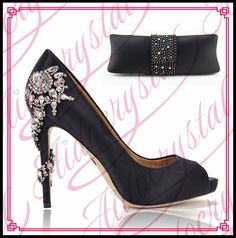 258.00$  Watch now - http://ali5tf.worldwells.pw/go.php?t=32778916116 - Aidocrystal 2016 Charming Italian Shoes With Matching Bags Rhinestones Black High Quality African Shoes And Bags Set for Wedding
