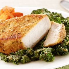 Meet your new weeknight staple: Parmesan-Crusted Pork Chops with Kale