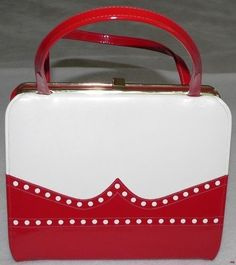 1950s/1960s Air Step Red White Patent Leather Kelly Bag...
