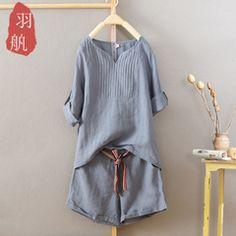 棉麻套装女夏装时尚两件套宽松亚麻棉上衣女短袖t恤衫阔腿短裤子