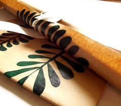 screen printed wrapping paper leaves. $4.00, via Etsy.