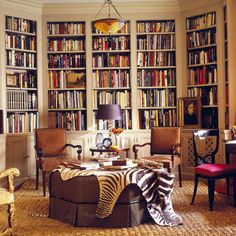 chic and cozy reading room. Perfect for my office/craft room in cabin! Beautiful Library, Dream Library, Cozy Library, Future Library, Open Library, Library Ideas, Design Blogs, Home Design, Interior Design