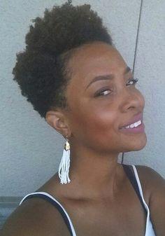 Natural hair 4c - TWA high top fade with deep part.