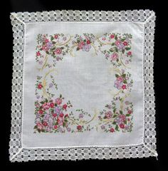 White fine cotton handkerchief vintage fith by DoiliesLaceCrafts