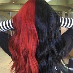 Hair Color Streaks, Hair Color Purple, Hair Dye Colors, Cool Hair Color, 2 Tone Hair Color, Two Toned Hair, Bright Hair Colors, Red Colored Hair, Colourful Hair
