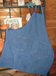 Tablier denim - Jeans Upcycled tablier - tablier artisanat - atelier tablier