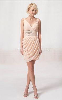 Pearl Pink Chiffon Princess V-neck Short Bridesmaid Dress For Beach(NZBD06055)