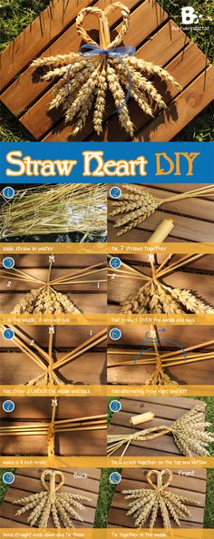 Straw weaving is an old traditional craft. It's considered to be good luck to give away little favors made of straw. Tutorial how to make a straw heart.