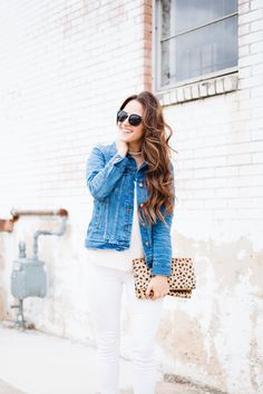 Any other lipgloss lovers with long hair feel my struggle with the wind?? 😏😂 On another note, if you've been needing a new denim jacket-- this one is 🙌🏼 I've work it bi-weekly since I got it. I get so much use out of this leopard clutch, too. Leopard is basically a neutral in my book! 🐆 Screenshot or like this photo to shop with the @liketoknow.it app or click the link in my bio! http://liketk.it/2qRlA #liketkit