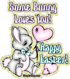 This cute glitter graphic shows a cartoon bunny holding a heart shaped balloon. The comment reads: Some Bunny Loves You! Happy Easter Gif, Happy Easter Quotes, Happy Easter Wishes, Happy Birthday Quotes For Friends, Easter Wishes Pictures, I Love You Images, Glitter Images, Some Bunny Loves You, Glitter Graphics