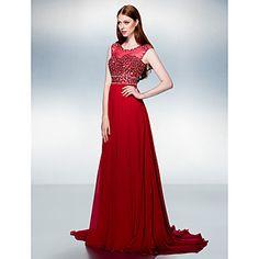 Formal Evening Dress - Burgundy A-line Jewel Court Train Chiffon – USD $ 149.99