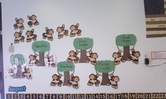 the job chart - I made trees for the job and we bought monkeys to hang from the trees.