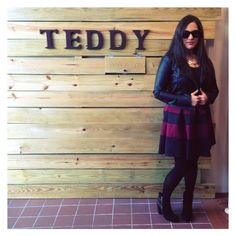@asequinloveaffair is shooting pics for her blog at Teddy today. We love that she chose to shoot in one of our favorite pieces, The Born Leader Dress ($75 - available online & in stores). She's also decked out in our faux leather jacket, sunnies, and triangle necklace
