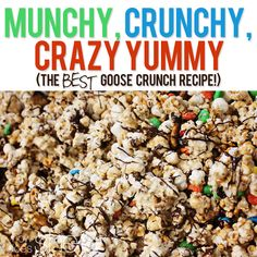 Goose Crunch is one of my favorite fall treats. I love the all different elements that combine to make this munchy, crunchy, crazy yummy treat. Popcorn Recipes, Candy Recipes, Sweet Recipes, Snacks Recipes, Yummy Treats, Sweet Treats, Christmas Popcorn, Crunch Recipe, Chex Mix