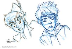 Jack frost and peter pan. I love this drawing. I found it a while ago, and now managed to put it on pintrest. I hope you like it to.