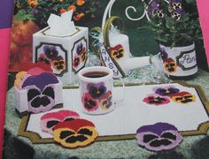 Pretty Pansy - Plastic Canvas pattern book American School of Needlework book…
