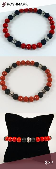 Men beaded bracelet brown red jasper & onyx Men beaded bracelet. Fits most , 7.5 to 8.5 inch wrist. Handmade by me , never worn by anyone. Made with natural Brown Red jasper (NOT bright red but brown red , more like the second picture ! ) and onyx beads. Tibetan silver deco charms. I ship fast!!✈️ Bundle and save! ( 10 % off bundles) REASONABLE offers considered. Any questions let me know! NO PAYPAL ! Accessories Jewelry