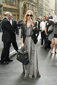 FALL TRANSITION: Perfect transition from Summer to Fall. Maxi dress with leather jacket. #RachelZoe #FallTransition