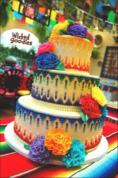 Google Image Result for http://www.wickedgoodies.net/wp-content/uploads/2012/06/Mexican-Wedding-Cake-Design-by-Wicked-Goodies.jpg #MexicanWeddingIdeas