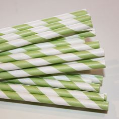 Paper Straws  200 Green Striped Paper Straws with by ThePartyFairy, $29.00