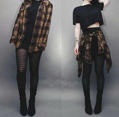 Black Crop Top/Black Skirt/Long Plaid Shirt Tie Around/Tights/Black Ankle Boots