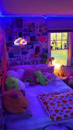 Neon Bedroom, Room Design Bedroom, Room Ideas Bedroom, Girls Bedroom, Bedroom Inspo, Dream Teen Bedrooms, Dream Rooms, Dream Bedroom, Chill Room