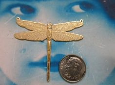 Gold Plated White Frosted Patina Brass Dragonfly Stamping with 2 Top Rings 212WHT x1 by dimestoreemporium on Etsy