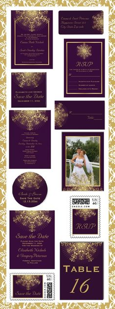 Wedding stationary in purple and gold