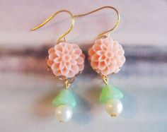 Lilian Pretty Coral Flower  Earrings with Seafoam Cone Embracing off White Pearls,Nice for Sweet 16,Feminine Pretty,Fits all Occasions. $18.00, via Etsy.