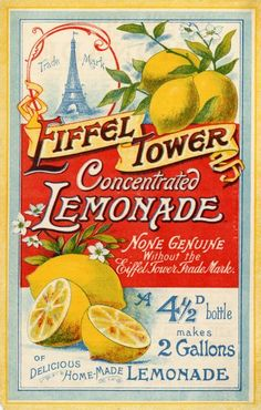 Vintage advertising poster for Eiffel Tower Concentrated Lemonade, from c1900. ..